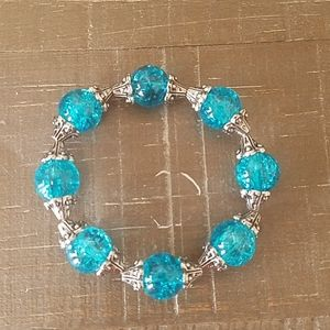 Turquoise Bead and Antique Silver Cap Bracelet